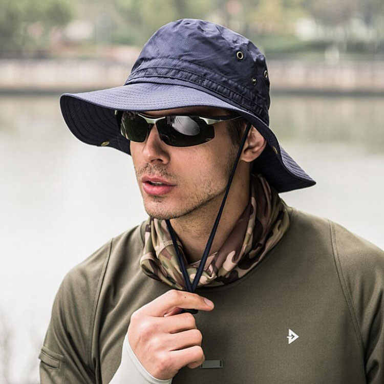 12e7ce44 ... Summer Sun Hat For Men Women Outdoor Sun Protection Wide Brim Beach Hat  Foldable Breathable Quick ...