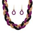 TL9664  new fashion Bohemian style Punk Fashion Colourful Simple Metal braid Twist Chain necklaces & pendants woman's Necklace