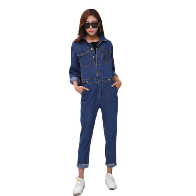 Denim Overall spring  jeans Jumpsuits woman Loose Fashion Casual denim Full Length Slim Solid pants  All mach trousers