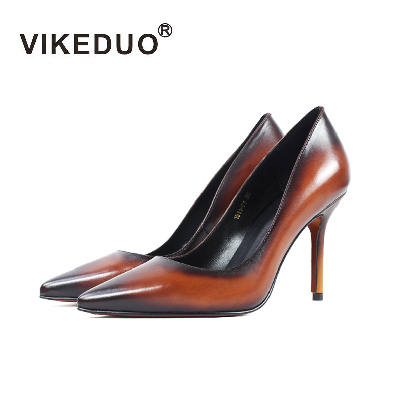 Vikeduo Vintage Women High Heels Shoes Pointed Toe Genuine Leather Party Wedding Ladies Pumps Plus Size Handmade Zapatos Mujer