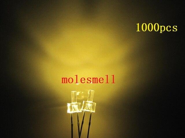 1000 Chiếc Mới 2 Mm Đầu Dẹt Trắng Ấm Nước Rõ Ràng 12000MCD LED Sáng Trắng Ấm Đèn LED Ánh Sáng 2 Mm lớn/Góc Rộng LED Trắng Ấm