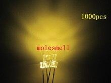 1000pcs חדש 2mm שטוח למעלה חם לבן מים ברור 12000MCD LED בהיר חם לבן נוריות אור 2mm גדול/רחב זווית חם לבן led