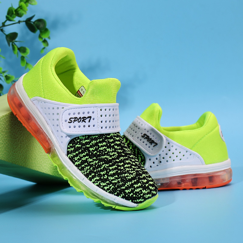Kids sneaker Air cushion 3D flying wire knitted air cushion children sport <font><b>shoes</b></font>,Wear resistant anti-skid Stretch kids gym <font><b>shoes</b></font>