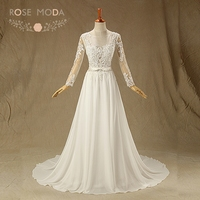 100 Real Photo Elegant Chiffon High Neck A Line Backless Wedding Dress With Full Sleeve