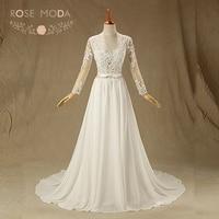 Rose Moda Backless Brautkleid Long Sleeves Brautkleider Boho Vestidos de Noiva Echt Fotos