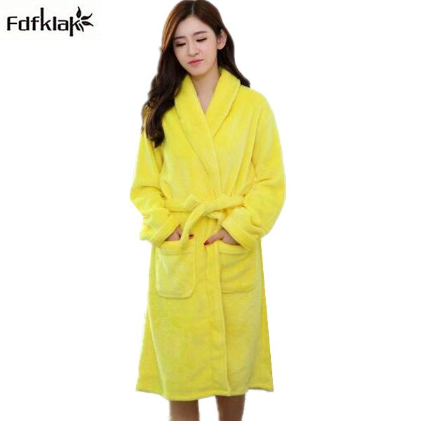 ac6b230c96 New autumn winter long dressing gowns for women bathrobes flannel  thickening ladies robes long sleeve warm home clothes