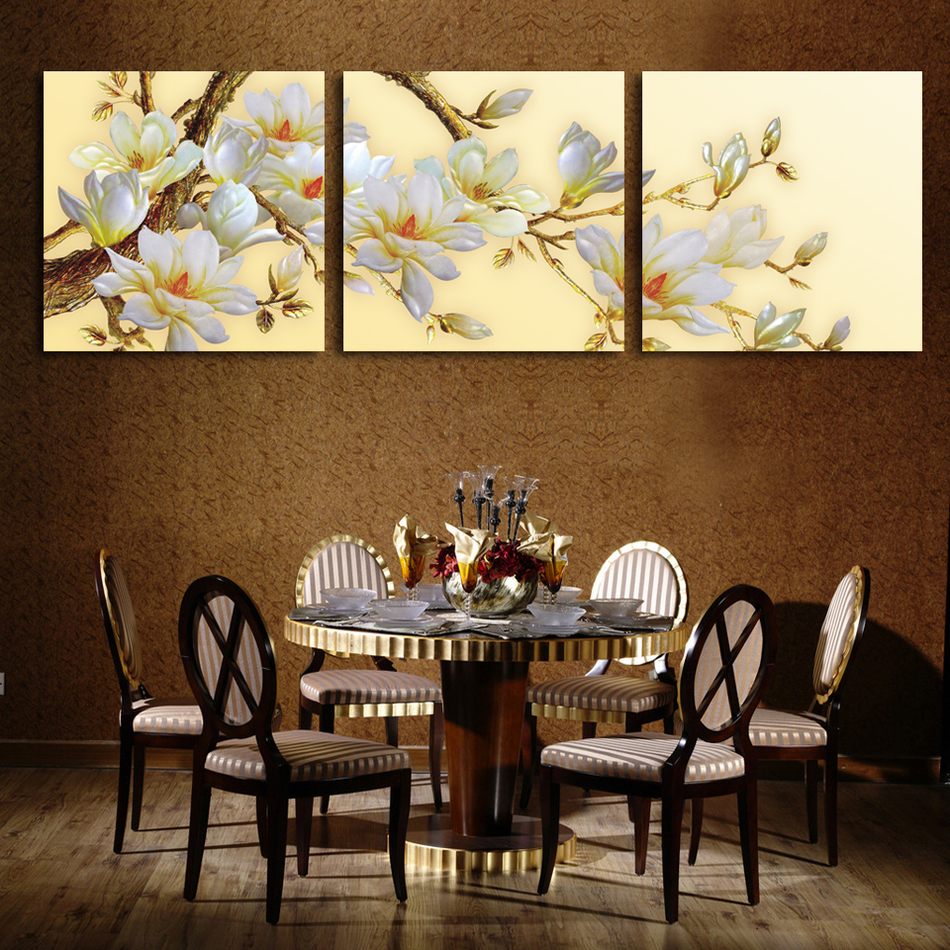 3 Panel Modern White Orchid Flower Painting On Canvas Pictures For