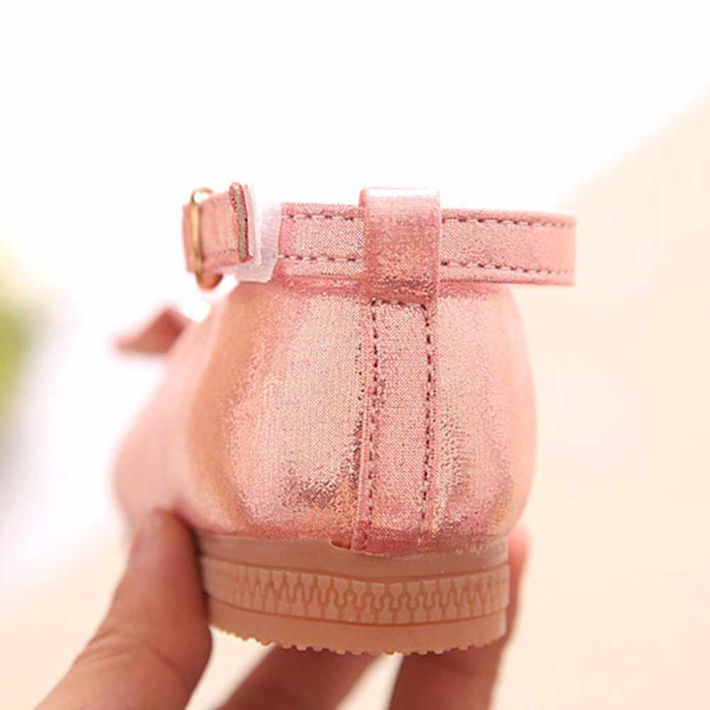 SAGACE Bowknot Dance Shoes Girls Girl Shoes For Kids Princess Children Hook & Loop Girls Baby Casual Flat Slip-on School Shoes