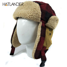 [HATLANDER]Outdoor earflap bomber hats for men women thick Russian Ushanka aviator trooper snow ski berber fleece winter hat cap