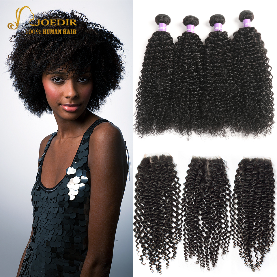 Malaysian Afro Kinky Curly Hair With Closure Human Hair 3 Bundles With Closure Deep Jerry Curly Hair Bundles With Lace Closure