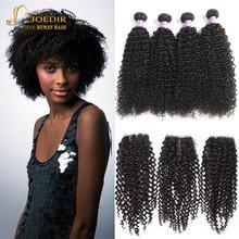 Malaysisches Afro-verworrenes gelocktes Haar mit Schliessen-Menschenhaar-3 Bündeln mit Verschluss-tiefen Jerry-lockigen Haarbündeln mit Spitze-Verschluss