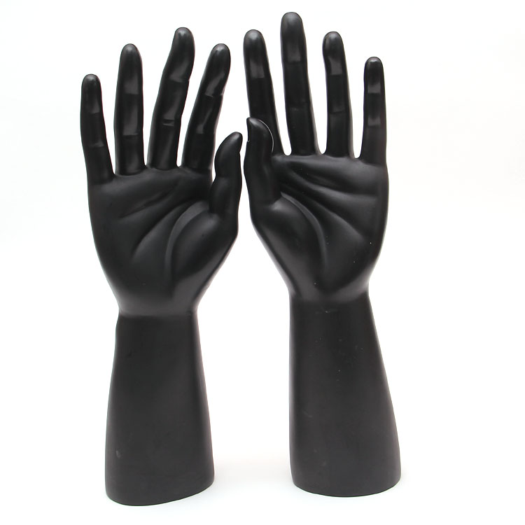 One Pair PE Male Mannequin Hand, Realistic Black Manikin Dummy Hands For Gloves Display
