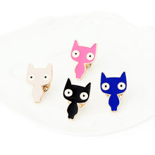 Nuovo Carino Spille k Blu Nero Dello Smalto del Gatto Animale Spilli Spille per Le Donne In Metallo Spille Spilla Lady Animale Bug Accessorio badage(China)