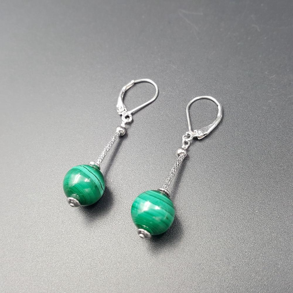 Lii Ji Malachite Beads,925 sterling silver Drop Dangle Earrings цена