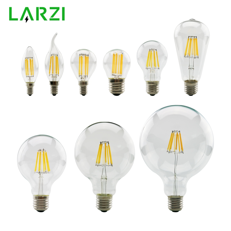 LARZI LED Filament Bulb E27 Retro Edison Lamp 220V E14 Vintage Candle Light Globe Chandelier Lighting COB Home Decor Light
