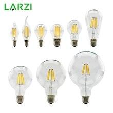 Lámpara Retro Edison LARZI bombilla de filamento LED E27 de 220V E14, candelabro de vela Vintage con forma de globo, luz COB para decoración del hogar