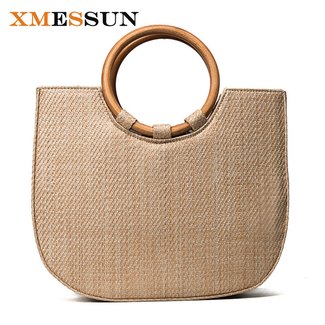 2017 кольцо с деревянной ручкой пляжная сумка Мода Повседневная сумка соломенная сумка ручной работы женская сумка женская через плечо сумки C74