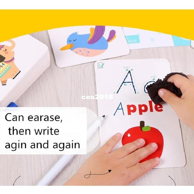 Children Activity Card Write Wipe Learning Educational Toys Alphabet Digit words math Learning Book cards early English Teaching 4