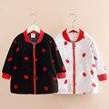 Roupas de primavera das crianças dos miúdos do bebê meninas outerwear 2016 outono rato lábio bordado zíper camisola jaquetas casuais 3-12Y
