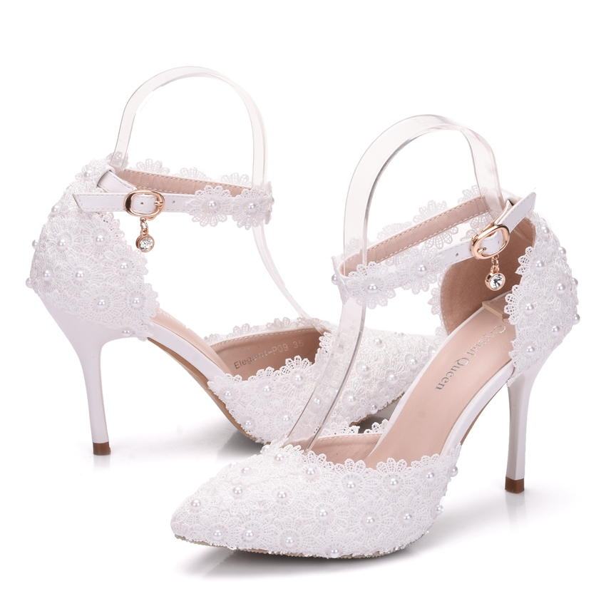 Crystal Queen White Lace Flower Bridal Shoes 14CM High Heel Round Toe Wedding  Pumps Ankle Straps Women Sandals Bridesmaid ShoesUSD 35.00-38.50 pair e0ac31f4271a