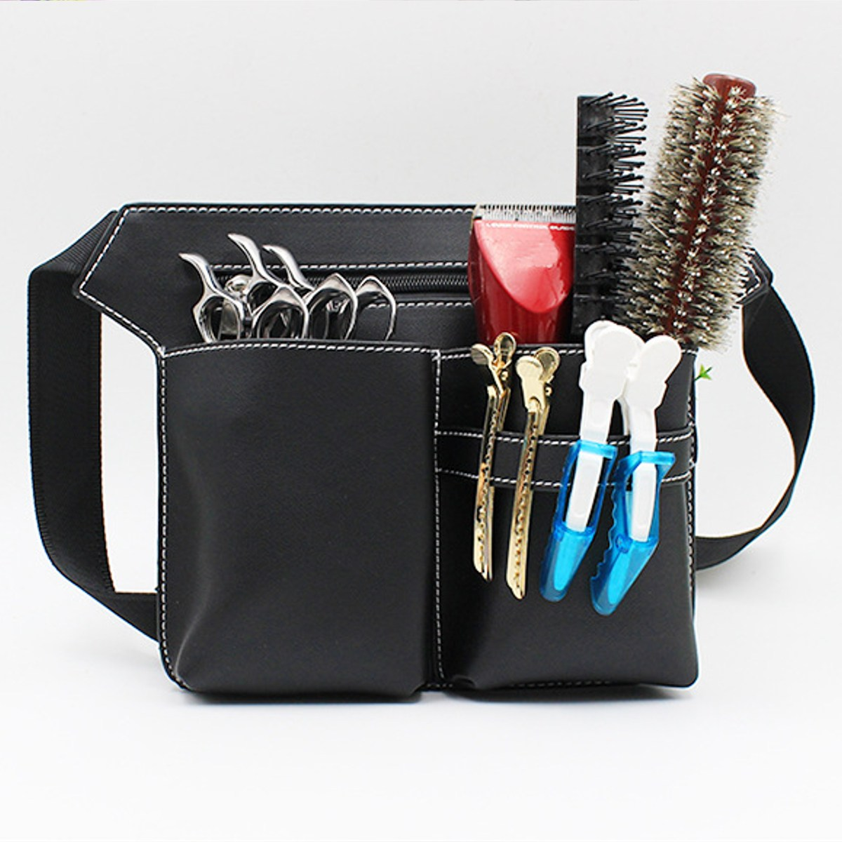 AEQUEEN Professional Salon Hair Scissor Bag PU Scissor Clip Shear Bags Tool Hairdressing Holster Pouch Holder Case Belt Tool Bag