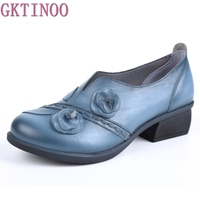 2017 Retro Style Handmade Pumps Genuine Leather Mid Heels Round Toe Low Heels Women Shoes
