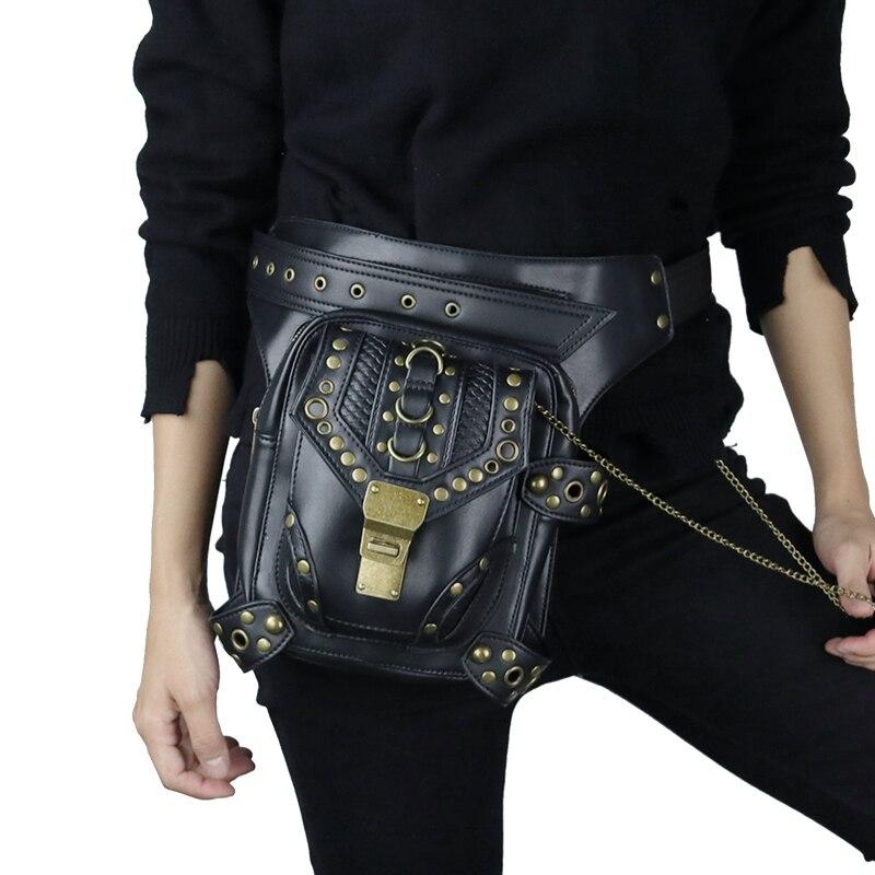 Top qualité PU cuir nouveau unisexe taille Fanny jambe sac cuisse ceinture moto Ride Punk Rock Messenger épaule étui Goth Pack