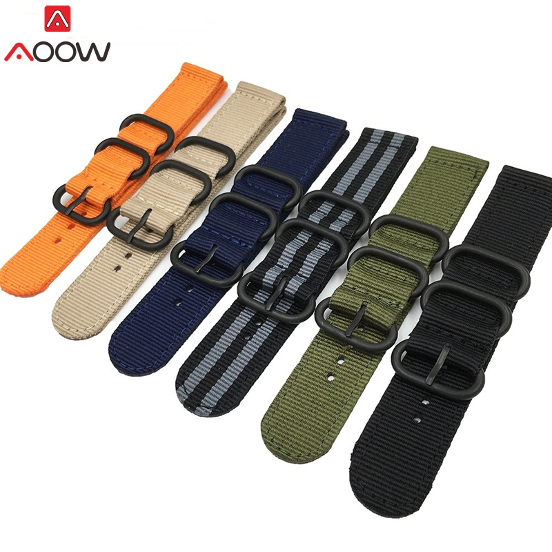 AOOW NATO Watchband Nylon Strap Black Ring Buckle 18mm 20mm 22mm 24mm Striped Replacement Band Watch Accessories