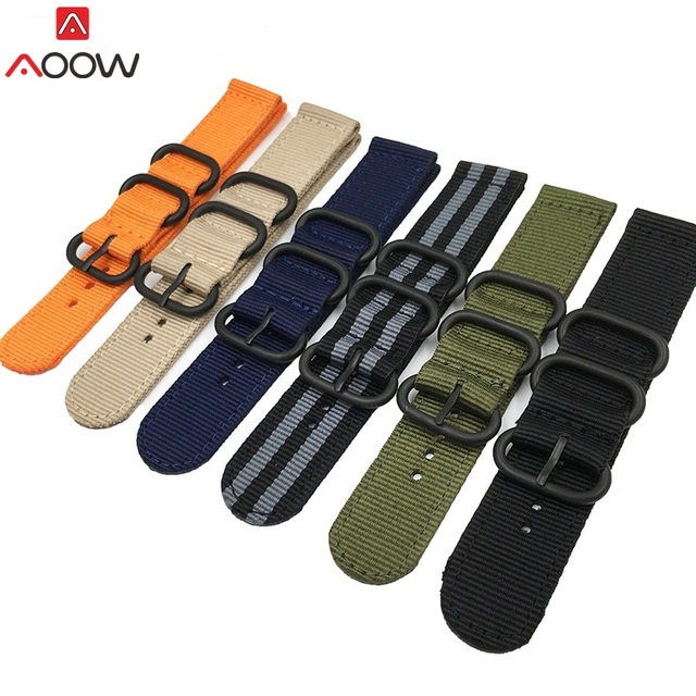 AOOW NATO Watchband Nylon Strap Black Ring Buckle 18mm 20mm 22mm 24mm Striped Re