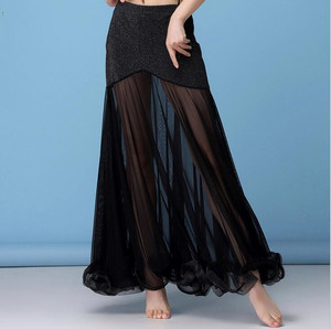 Image 2 - Korea Silver Mesh Belly Dance Skirt Women Belly Dancing Costume Outfit Tribal Maxi Full Skirts Solid Color Skirt Black XL