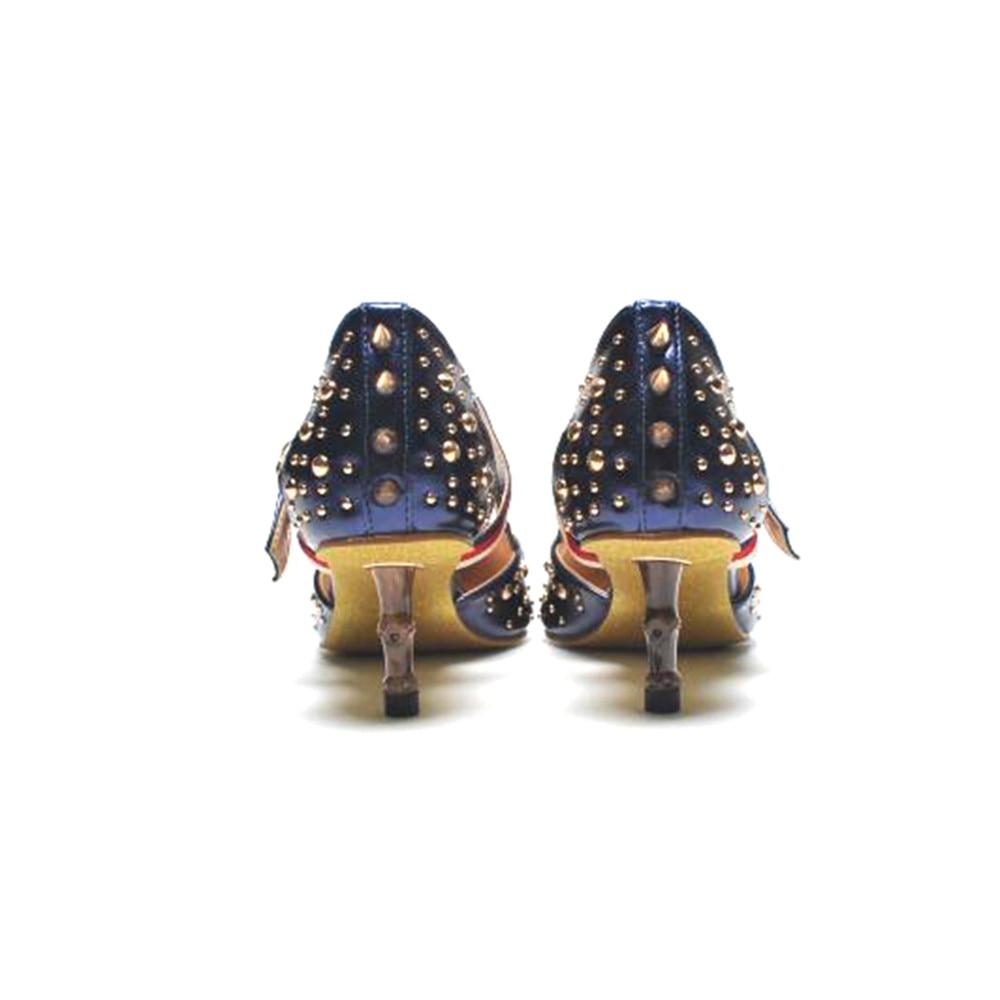 Pointes 2018 Cuir Rivets Mulher Sapatos En Pompes Marque Amour Bleu Noir Noble As Luxe À Picture as Picture De Chentel Boucle Talons Sangle Femme Haute Blanc 8wrq18