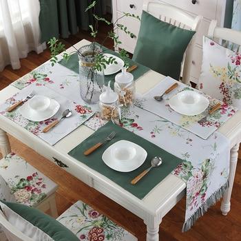 Junwell אופנה פוליאסטר הדפסת שולחן רץ צבעוני עם בעבודת יד ציצית רץ שולחן בד עם גדילים שולחן רץ