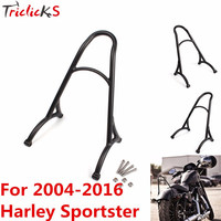Triclicks Burly Black Chrome Short Sissy Bar Backrest Motorcycle Luggage Rack New For Harley Sportster Iron 1200 883 XL 04 16