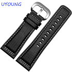 Quality Genuine Leather Watch band Mens 28mm For Mens Black Leather Watch accessories