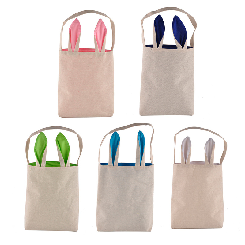 2pcs Easter Bunny Rabbit ears gift bags jute Dual Layer Easter Eggs Gifts Shopping Carrying Bag for Party New Year Decorations