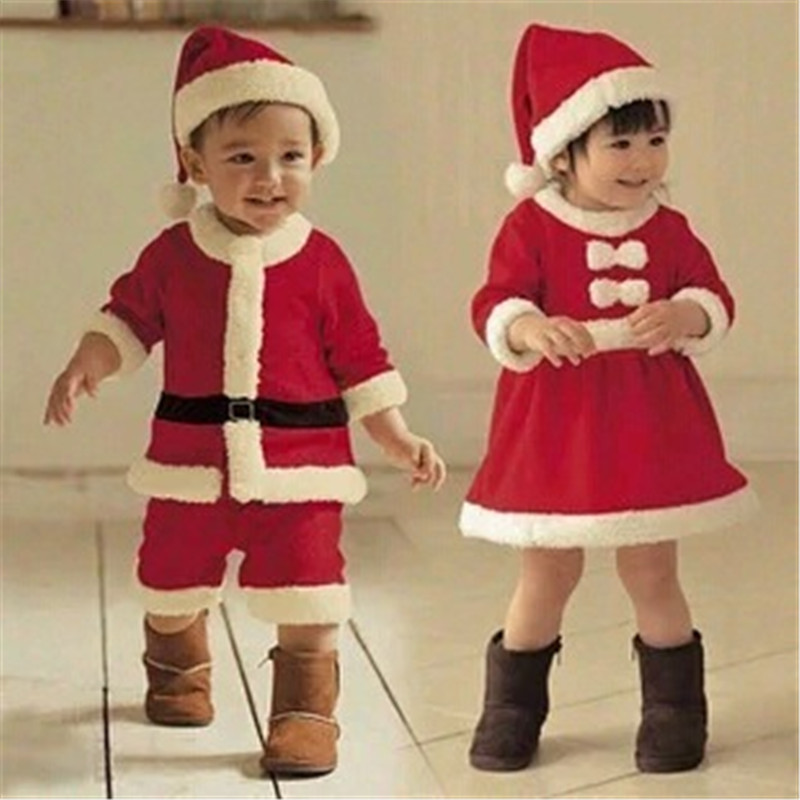 2017 Children Christmas Clothing Set 12M-3Y Baby Boys Girls Christmas Suit and Dress Santa Claus Costumes Newborn Enfant Clothes newborn boys girls christmas santa claus infant new year clothes 4pcs santa christmas tops pants hat socks outfit set costume