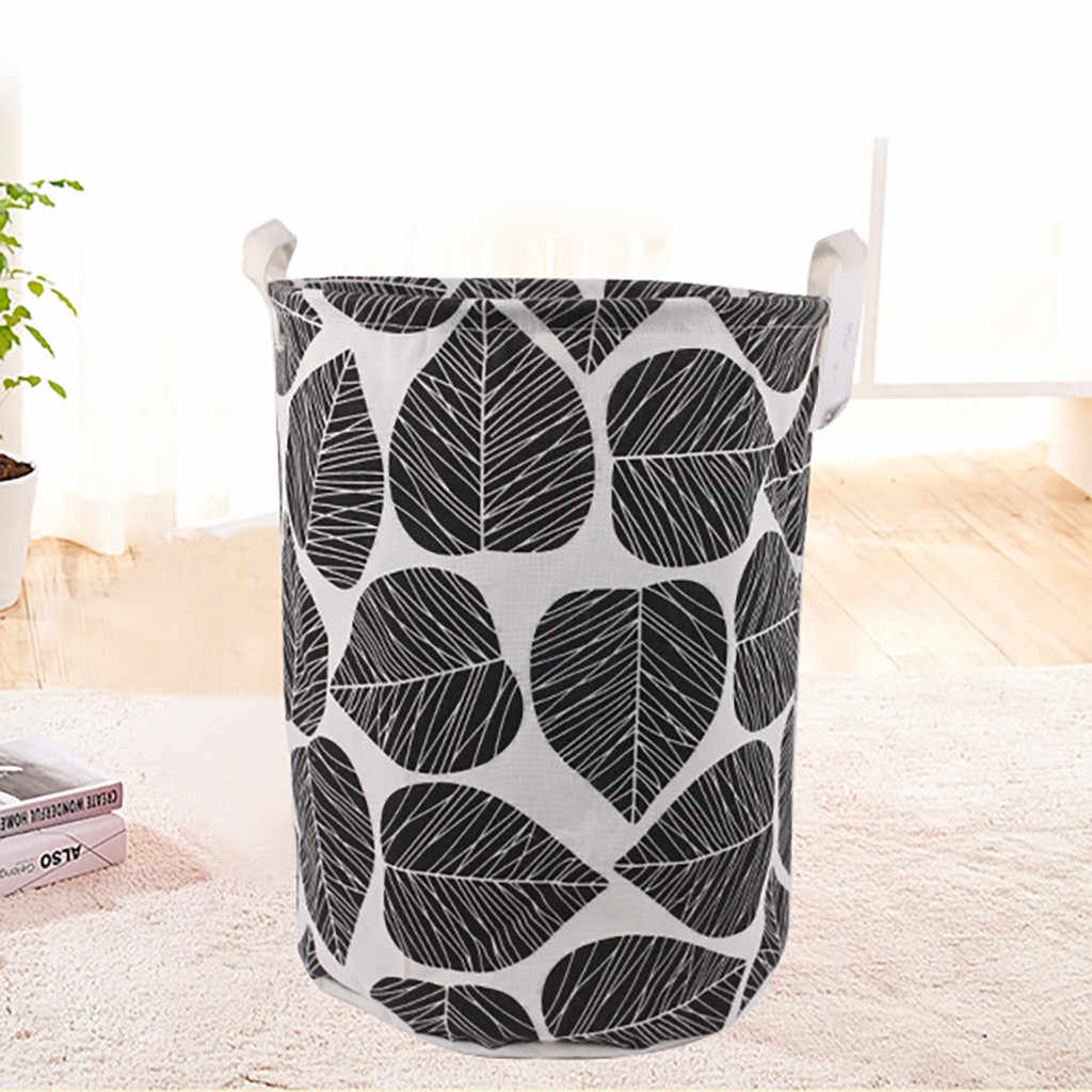 Waterproof Laundry Basket Folding Leaves Printed Fashion Simple Storage Basket For Dirty Clothes Sundries Home Accessory