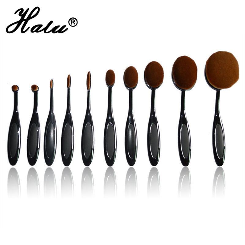 10pcs/lot Power Makeup Brush Beauty Oval Cream Puff Cosmetic Toothbrush-shaped foundation brush Blend Tools pincel with box candy color calabash shaped cosmetic makeup cotton pads sponge puff pink