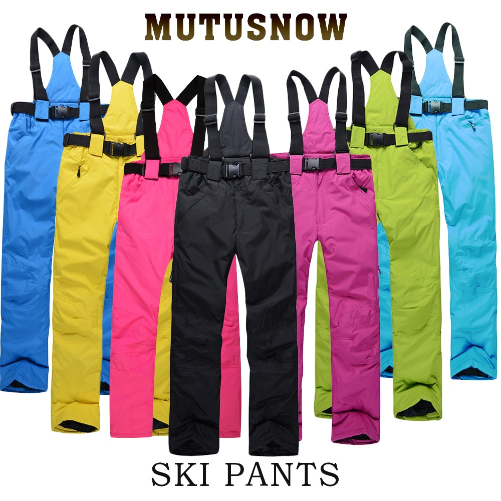 Ski Pants Women And Men Suspenders Outdoor Sports High Quality Windproof Waterproof Warm Winter Brands Snow Snowboard Trousers outdoor sports mirror windproof dust for women and men