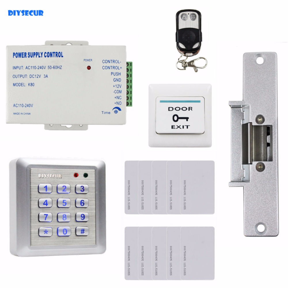 DIYSECUR 125KHz RFID Reader Password Keypad Door Access Control Security System Strike Lock Door Lock Remote Control diysecur rfid keypad door access control security system kit electronic door lock for home office b100