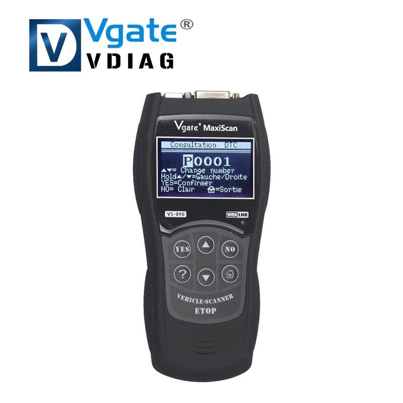 imágenes para 2016 Vgate MaxiScan VS890 VGATE VS890 OBD2 Lector de Código Universal Herramienta de Diagnóstico Del Coche OBD2 Escáner Multi-idioma envío gratis