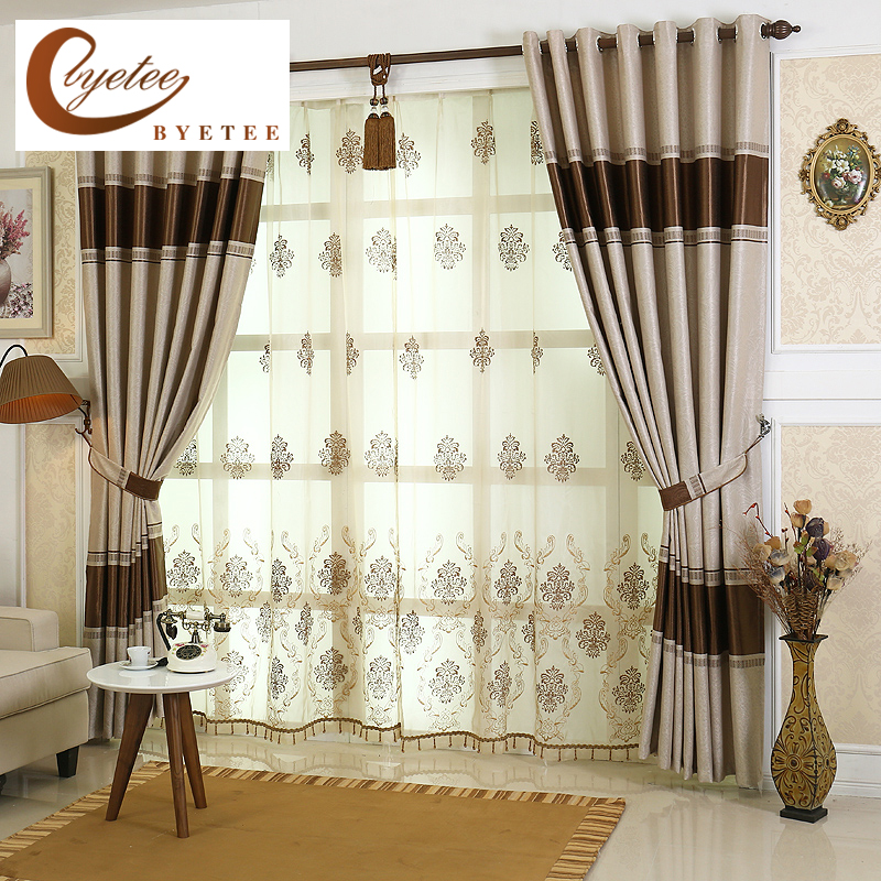 Byetee High Quality Luxury Curtains For Living Room Stripes Window Kitchen Bedroom Drapes Blackout
