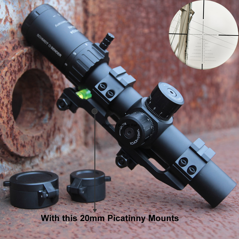 Schmidt Bender New 1.2-6x24 PMII Short Tactical Riflescopes Quick Acquisition Full Light Reticle With Picatinny 20mm Mounts