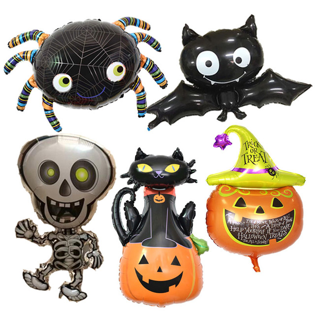 Halloween Pumpkin Ghost Balloons Halloween Decorations Spider Foil Balloons Inflatable Toys Bat Globos Halloween Party Supplies