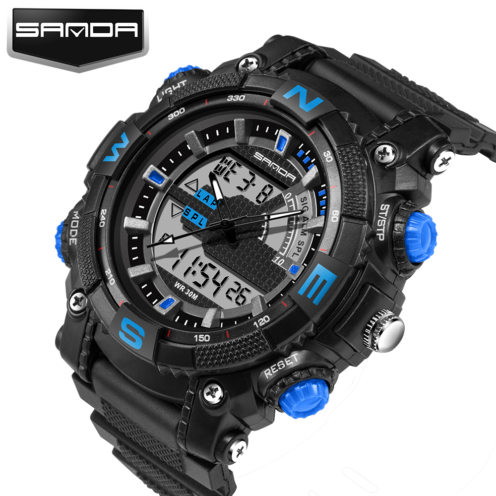 SANDA Brand New Fashion Casual Wristwatch Men Sports Military Shock Men's Luxury Analog Quartz Led Digital Watches Reloj Hombre sanda fashion watch men g style waterproof led digital sports military shock men s analog quartz wristwatch relojes hombre