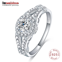 LZESHINE 2016 Women 100 925 Silver Wedding Ring Bijoux Femme Crystal Jewelry Accessories Engagement Rings Anel