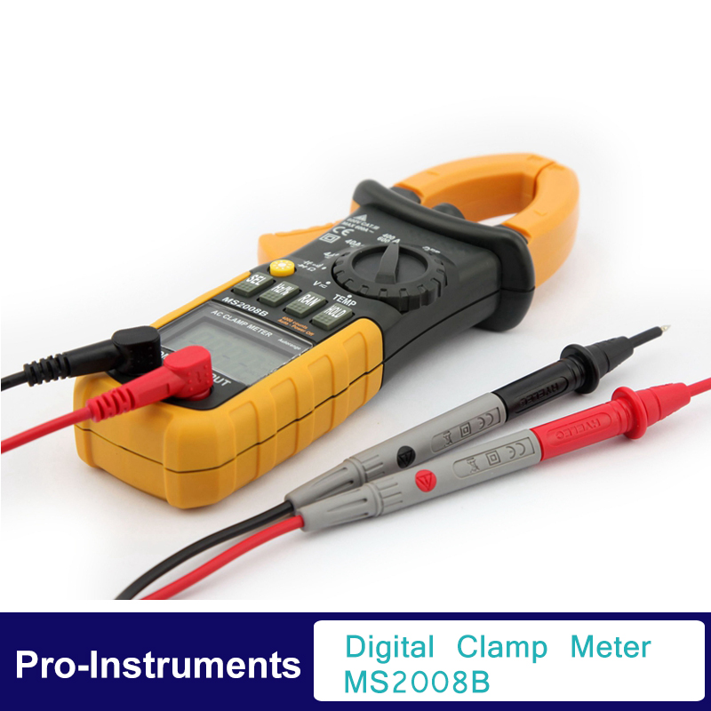 Digital Clamp on Meter Multifunction Auto Range Multimeter AC DC Voltage Current TEMPERATURE Tester DMM MS2008B  цены