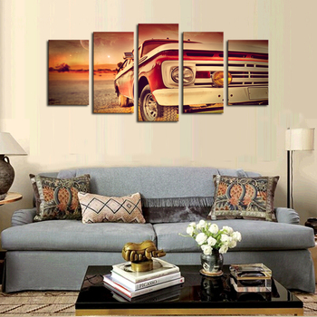5 Panels (No Frame) Canvas Wall Art Sports Car Pictures Paint on Canvas Painting for Home Kitchen Decorative no frame canvas