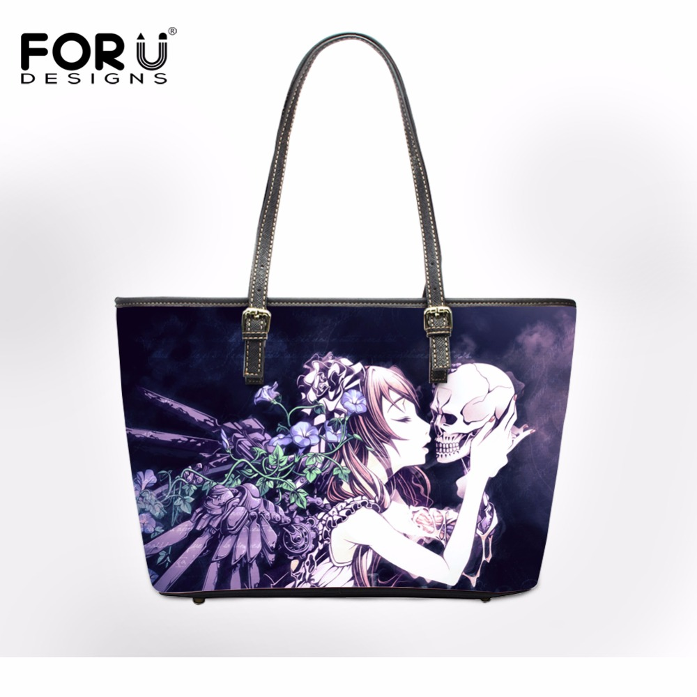 FORUDESIGNS 2017 Brand Women Shoulder Bags Cool Punk Skull Handbags Pu Leather Female Big Casual Tote Bag Ladies Hand Bags Sac hisuely 2017 vintage skull shoulder bags women bucket pu leather with silk female black handbags ladies casual chain tote bag