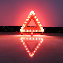 hlxg Universal Auto Car Red Breakdown Warning Triangle Reflective Led Strips reflective tape Cars reflectors emergency stop sign(China)